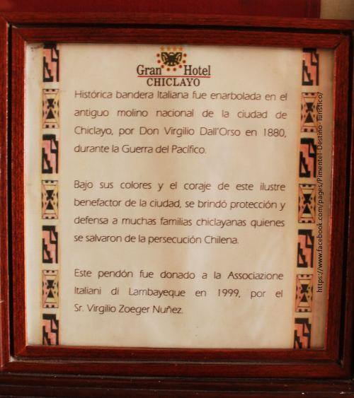 Bandera que izó don Virgilio Dall Orso en 1880 en el Molino Nacional